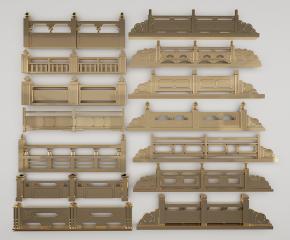 新中式户外金属栏杆组合3D模型