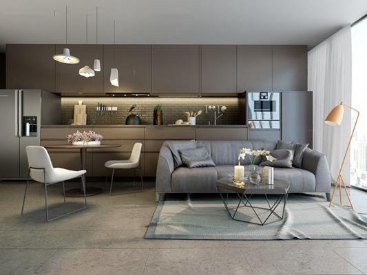 北歐沙發餐椅櫥柜組合 北歐沙發 茶幾 餐桌椅 櫥柜