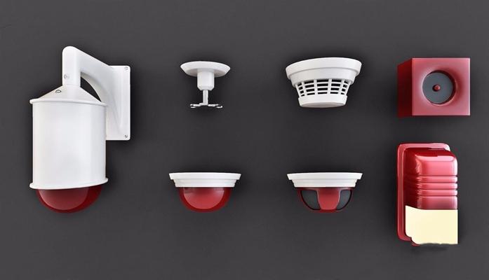 火警警报器 现代其他器材 报警器 火警警报器 烟感器 喷头 警报灯