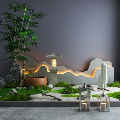 新中式绿植石头景观3D模型