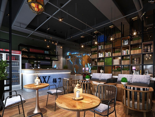 工业风网吧 网吧 桌椅 柜台 单椅 装饰架 吊灯 盆栽