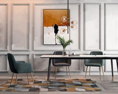 现代轻奢餐桌椅组合 现代桌椅组合 餐桌 餐椅 金属吊灯 玻璃吊灯
