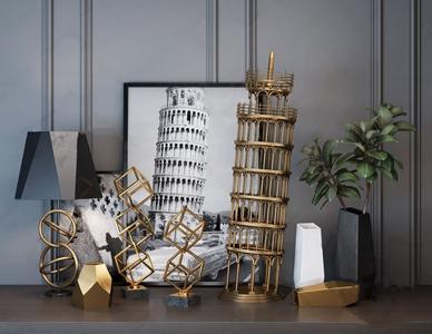 现代比萨斜塔金属摆件组合 现代摆件 比萨斜塔 装饰品 挂画 金属摆件 不锈钢 盆栽
