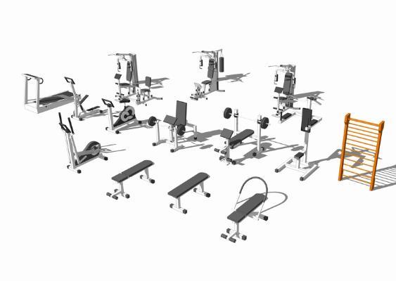 室内健身器械SU模型