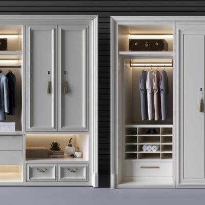 欧式实木衣柜储物柜组合3D模型