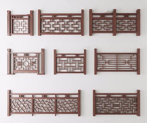中式栏杆组合 中式栏杆 楼梯栏杆 栏杆组合 新中式栏杆