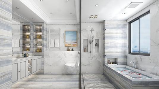 简欧卫生间 简欧卫浴 卫浴柜 马桶 浴缸 淋浴 台盆柜