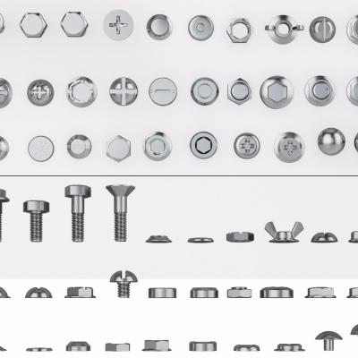 现代螺丝螺母螺钉3D模型