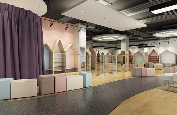 现代北欧童装店 展柜 吊顶 更衣室