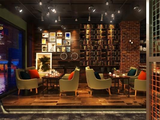 工业咖啡厅3D模型下载