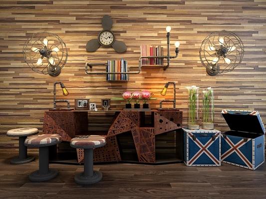 loft怀旧复古工业风柜子饰品组合 工业风边柜 凳子 箱子 风扇 灯 铁管子 书架 摆件 装饰品