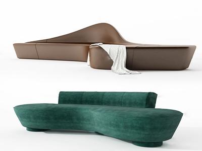 现代布艺皮革异形沙发3d模型