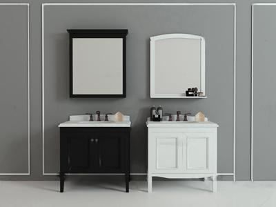 现代实木浴室柜洗手台3d模型