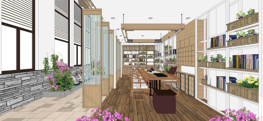 新中式书房茶室SU模型