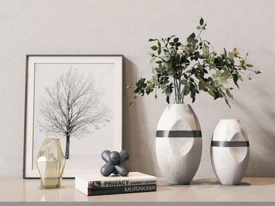 现代花瓶植物摆件组合