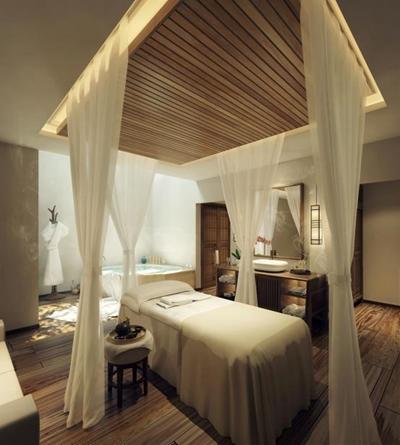 SPA包房 新中式SPA包房 按摩床 卫浴柜 浴缸 浴袍 窗纱 茶具