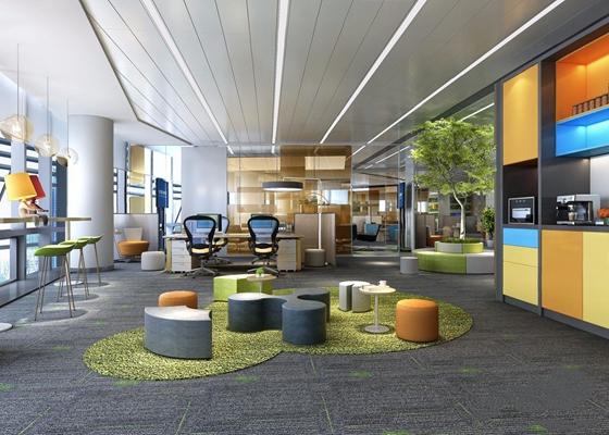 现代办公区 现代办公区 水吧 敞开办公区 休息室 接待区 办公桌椅 植物 咖啡机 吧椅 吧台 吊灯
