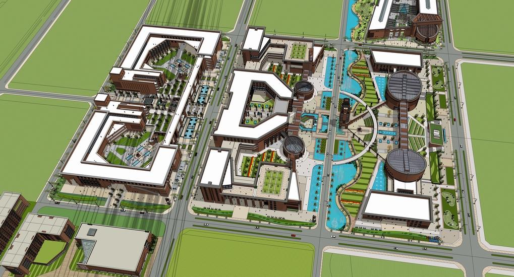 欧式大学校园景观SU模型