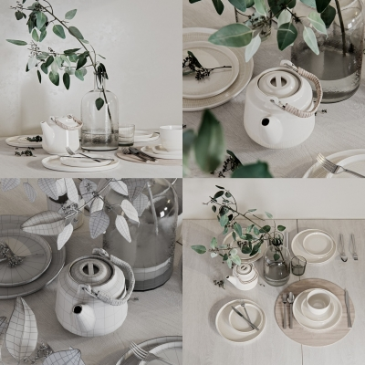 现代餐具摆件组合3D模型