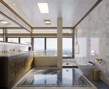 美式卫生间 美式卫浴 卫生间 淋浴 浴缸 马桶 垃圾桶 抽纸 五金 台盆 摆件