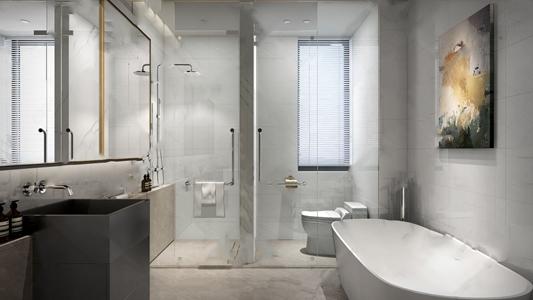 现代卫生间 现代卫浴 浴缸 洗手台 马桶 淋浴间