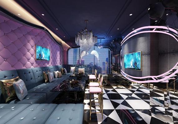 新古典ktv包厢 新古典娱乐会所 多人沙发 茶几 吧椅 酒吧吧椅 吊灯 皮质沙发 软包