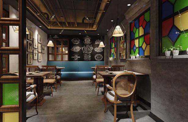 工业风餐厅 工业风餐饮空间 餐桌椅 单头吊灯 挂画 收银台 吧台 植物 取餐台