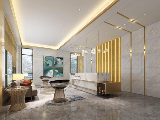 现代门厅 现代门厅 接待台 等候区 吊灯 多人沙发 椅子 圆茶几 背景墙