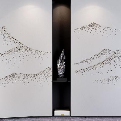 新中式背景墙摆件组合 新中式摆件 山形背景 屏风 背景墙
