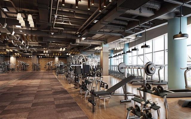 工业风健身房 工业风健身房 健身器材 吊顶 吊灯