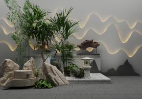 新中式假山植物石磨组合3D模型
