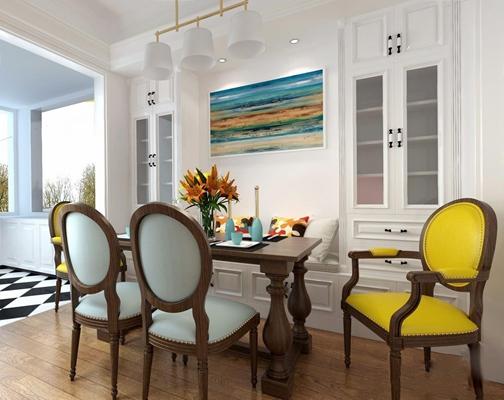 美式餐厅 美式餐厅 餐桌 餐椅 卡座 吊灯