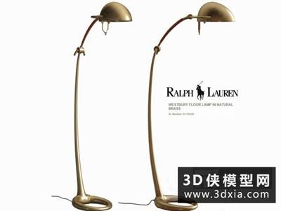 拉夫劳伦金色金属落地灯模型