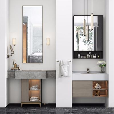 现代卫生间洗漱日用 现代卫浴用品 洗涤日用 洗手台 毛巾 吊灯