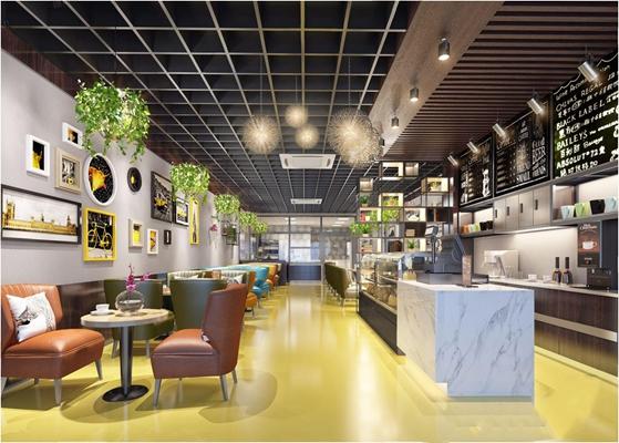 工业风面包店餐厅 工业风餐饮空间 餐厅 收银台 餐桌椅 吊灯 铁艺装饰架 休闲椅 挂画 吊篮