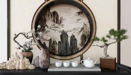 新中式摆件 新中式饰品摆件 盆栽 绿植 茶壶 假山 摆件