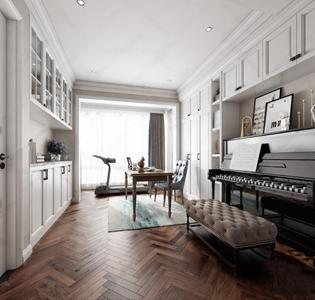 美式书房 美式书房 钢琴 跑步机 书桌 单人椅 长椅 地毯 装饰画 摆件