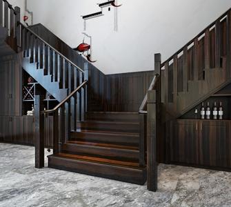 新中式楼梯 新中式楼梯 木质楼梯 装饰柜