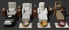 新中式按摩椅角几盆子摆件组合3D模型
