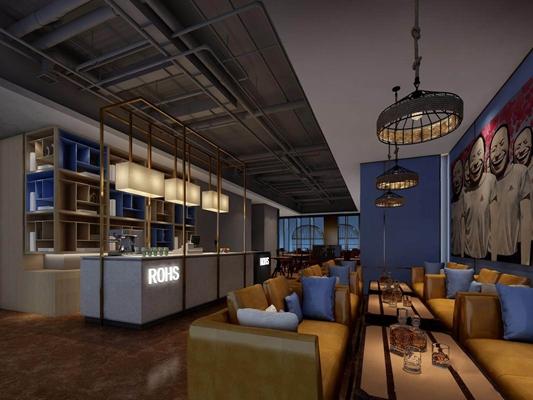 现代音乐餐吧 现代餐厅 收银台 双人沙发 餐桌 吊灯 室外桌椅 门头 摆件 玻璃器皿 落地灯