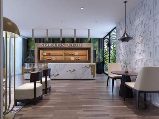 现代咖啡厅 现代咖啡厅 收银台 餐桌椅 背景墙 吊灯 休闲椅 多人沙发 茶几 蛋糕柜