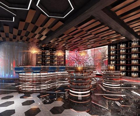 中式KTV酒吧 中式娱乐会所 吧台 吧椅 展架 树干 饰品 吊灯 装饰架