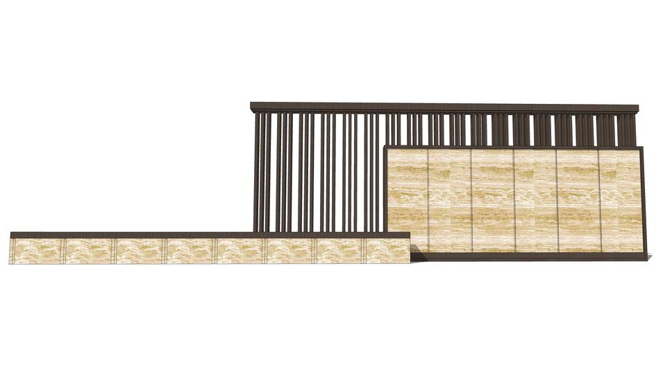 新中式新亚洲景墙SU模型
