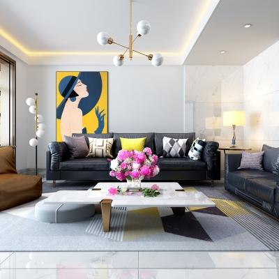 现代皮沙发茶几摆件组合3D模型