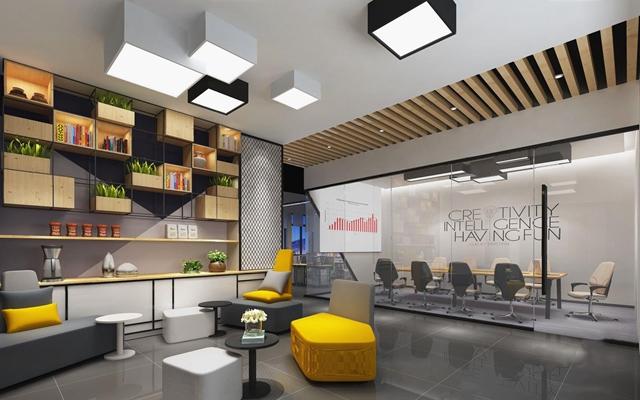 前厅接待区会议室 现代前台接待 个性沙发 角几 墙柜 会议室 会议桌 办公椅 吸顶灯