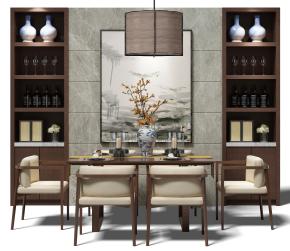 现代餐桌椅酒柜组合3D模型