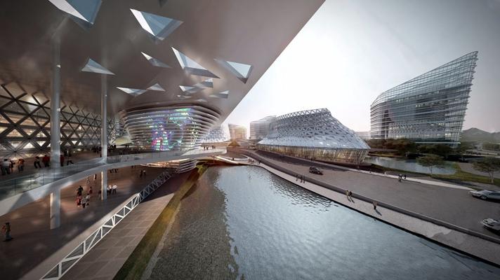 现代商业建筑 其他建筑 水 人 车 玻璃建筑