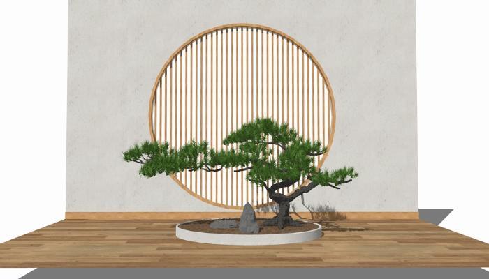 新中式松树小品SU模型