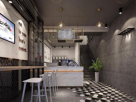 现代饮料店 现代咖啡厅 餐饮店 收银台 吧台 吧椅 吊灯 桌椅组合