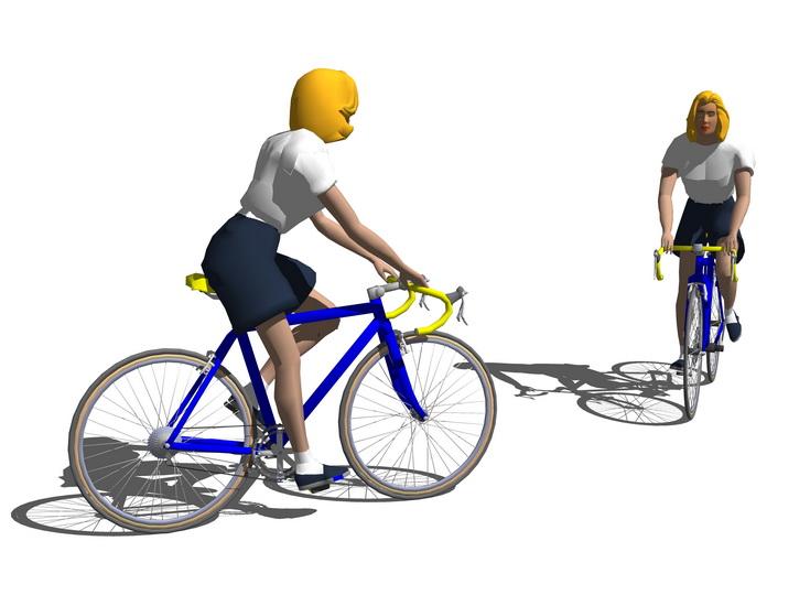 骑自行车人物SU模型